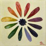 Mandala aus getrockneten Samen auf Leinwand und mit Acryfarbe bemalt