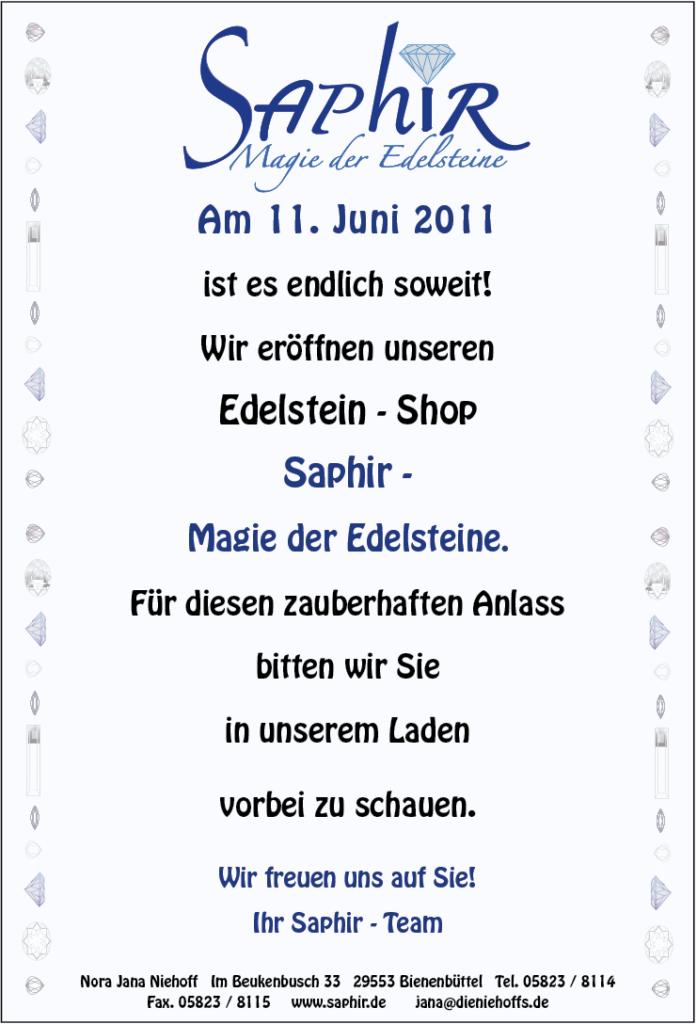 Saphir-Edelsteinshop-Plakat